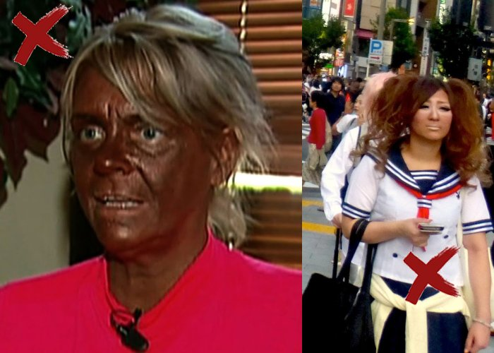 Too much sun tan make you look old
